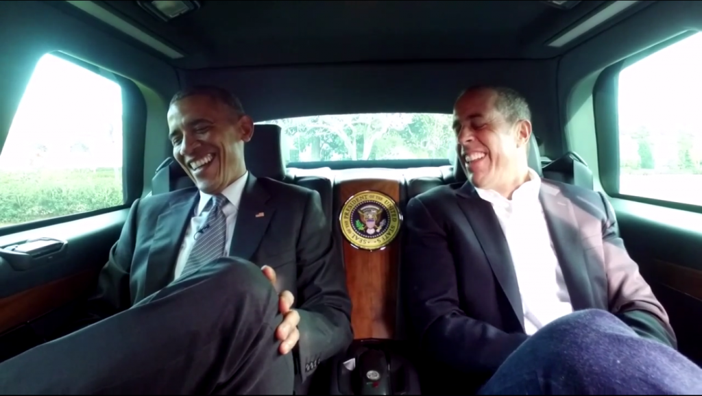Jerry Seinfeld And Obama Getting Coffee In Cars