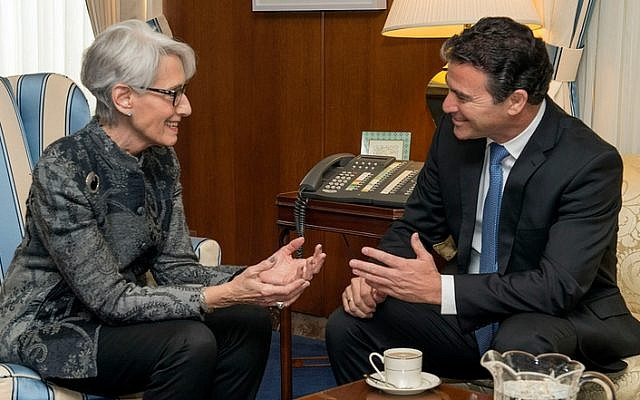 US Under Secretary for Political Affairs Wendy Sherman meets with Israel's National Security Adviser Yossi Cohen at the US Department of State in Washington, DC on February 18, 2015. (State Department photo/ Public Domain)