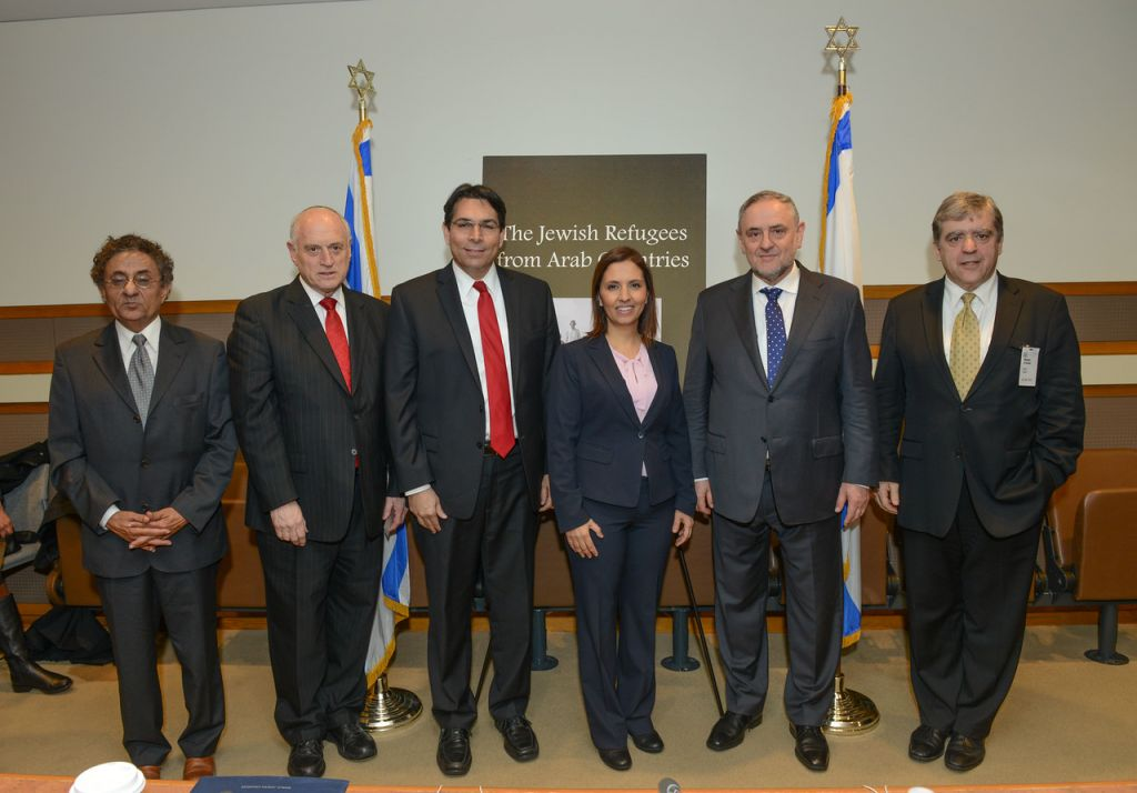 Speakers at a UN event commemorating Jewish refugees from Arab lands on December 1, 2015. From left to right: journalist Ben-Dror Yemini, Conference of Presidents Executive Vice President Malcolm Hoenlein, UN Ambassador Danny Danon, Minister for Social Equality Gila Gamliel, World Jewish Congress CEO Robert Singer and journalist David Suissa. (photo credit: Shahar Azran)