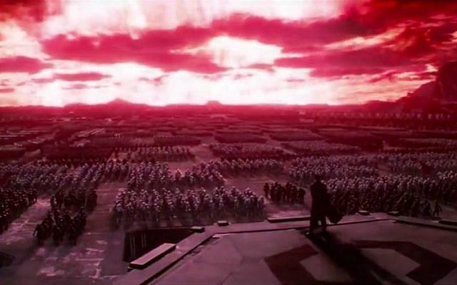 "A screen shot showing imperial troops massed in a Nazi-like rally in ""Star Wars: The Force Awakens."" (screen capture: YouTube)"