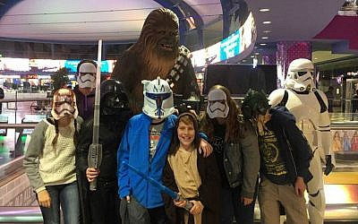 Star Wars fans dressed up in character for one of the first screenings of 'Star Wars: The Force Awakens' at Jerusalem's Cinema City theater (Courtesy Naomi Wurtman)