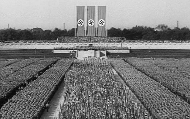 "Screen capture from the 1935 Nazi propaganda film ""Triumph of the Will."" (screen capture)"