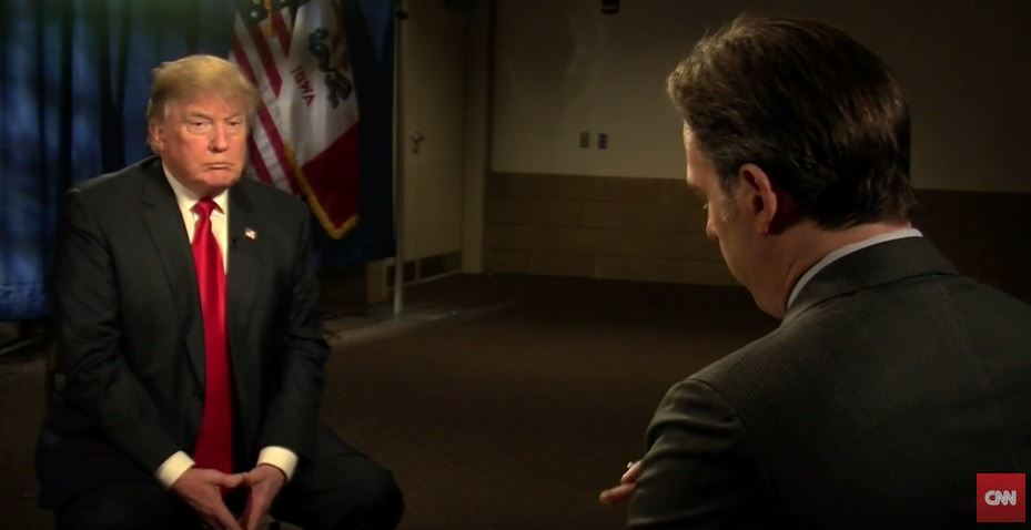 Then-Republican US presidential hopeful Donald Trump during an interview with Jake Tapper on 'State of the Union' for CNN, December 13, 2015. (YouTube/CNN)