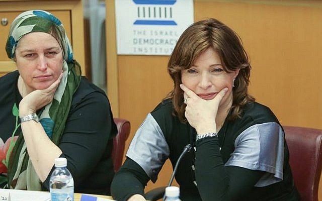 Naomi Perl, co-founder of the Ron Shulamit Conservatory Har Nof branch for Haredi girls, on the left, and Vardit Rozenblum, a lawyer for MIDAT, at the Israel Democracy Institute conference on December 21. (Israel Democracy Institute)