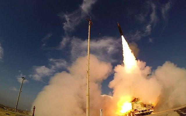 Illustrative: The Arrow 3 missile is launched from Palmachim air base in central Israel on December 10, 2015. (Defense Ministry)