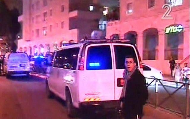 Police at the scene of a stabbing attack in Jerusalem on December 6, 2015. (Screen capture: Channel 2)