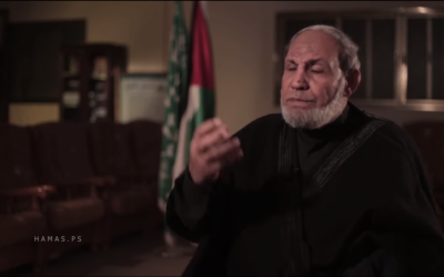 Hamas co-founder Mahmoud al-Zahar gives interview to mark the terror organizations 28th anniversary on December 14, 2015. (screen capture: YouTube)