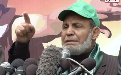 Mahmoud al-Zahar speaks at a Hamas rally in Gaza on December 14, 2015. (YouTube screenshot)