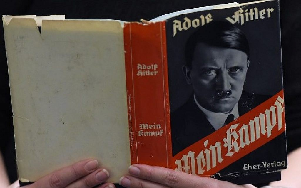 """This file photo taken on December 7, 2015 shows a German edition of Adolf Hitler's """"Mein Kampf"""" at the Berlin Central and Regional Library (Tobias Schwarz/AFP)"""