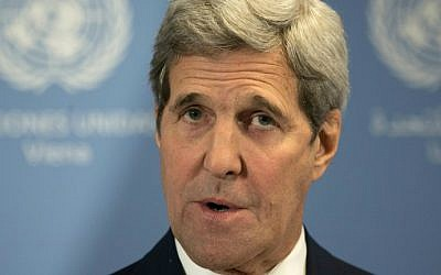 US Secretary of State John Kerry holds a press conference at the E3/EU+3 and Iran talks at the International Atomic Energy Agency headquarters in Vienna on January 16, 2016. (Joe Klamar/AFP)