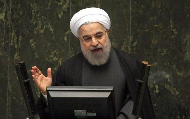 Iranian President Hassan Rouhani delivers a speech to parliament in the capital, Tehran, on January 17, 2016, after sanctions were lifted under Tehran's nuclear deal with world powers. (AFP/Atta Kenare)