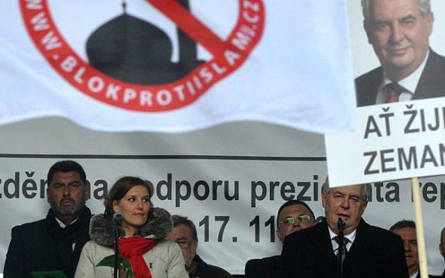 This file photo taken on November 17, 2015 shows Czech President Milos Zeman delivering a speech on the 26th anniversary of the Velvet Revolution on November 17, 2015 in Prague. (Michal Cizek/AFP)