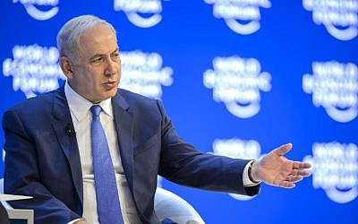 Prime Minister Benjamin Netanyahu at the World Economic Forum (WEF) annual meeting in Davos, Switzerland, January 21, 2016. (Fabrice Coffrini/AFP)