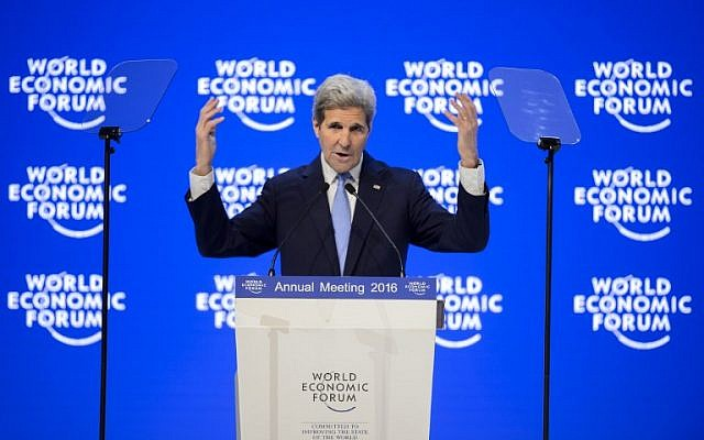 US Secretary of State John Kerry addresses the assembly at the World Economic Forum (WEF) annual meeting in Davos, on January 22, 2016. (AFP/FABRICE COFFRINI)