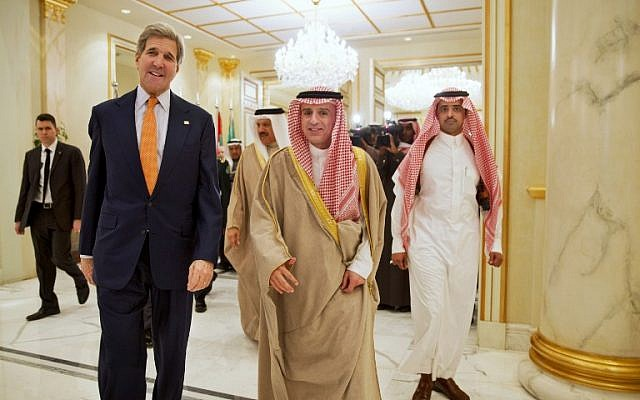 US Secretary of State John Kerry and Saudi Foreign Minister Adel al-Jubeir arrive for a joint press conference following a meeting with foreign ministers from the six-nation Gulf Cooperation Council at King Salman airbase in Riyadh on January 23, 2016. (AFP/POOL/Jacquelyn Martin)