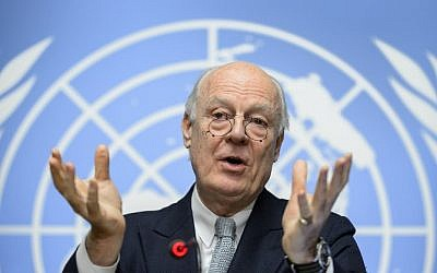 UN Syria envoy Staffan De Mistura gestures during a press conference on efforts to restart peace talks, at the United Nations Offices in Geneva on January 25, 2016. (Fabrice Coffrini/AFP)