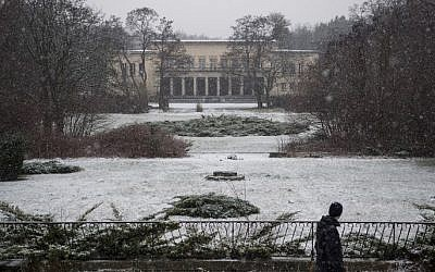 This file photo taken on January 13, 2016 shows the main grounds of the Communist Free German Youth (FDJ-Freie Deutsche Jugend) school complex, built in the 1950s, near the Bogensee lake, north of Berlin, taken on January 13, 2016. (John Macdougal/AFP)
