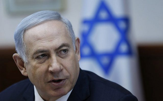 Prime Minister Benjamin Netanyahu chairs the weekly cabinet meeting in Jerusalem, on January 31, 2016. (AFP/Pool/Amir Cohen)
