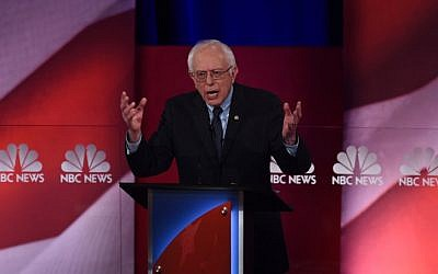 Democratic presidential candidate Bernie Sanders participates in the NBC News -YouTube Democratic Candidates Debate on January 17, 2016 at the Gaillard Center in Charleston, South Carolina (AFP/TIMOTHY A. CLARY)