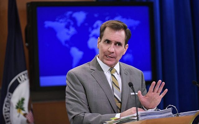 State Department Spokesman John Kirby speaks during the daily briefing at the State Department on January 6, 2015 in Washington, DC. (AFP PHOTO/MANDEL NGAN)