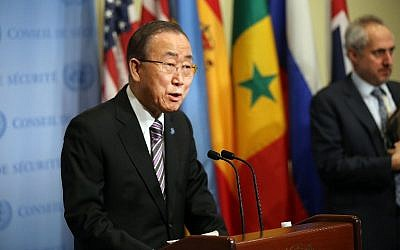 United Nations Secretary-General Ban Ki-moon makes comments to the media on the situation in North Korea before the Security Council holds a closed-door meeting to discuss the next steps at the United Nations on January 6, 2016 in New York City. (Spencer Platt/Getty Images/AFP)