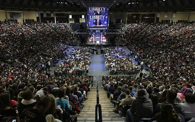 Republican presidential candidate Donald Trump delivers the convocation at the Vines Center on the campus of Liberty University, January 18, 2016 in Lynchburg, Virginia. (Chip Somodevilla/Getty Images/AFP)