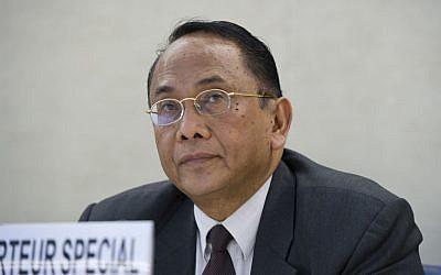 Makarim Wibisono addresses the UN's Human Rights Council on July 23, 2014. (UN/Violaine Martin)