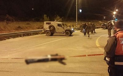 Scene of an attempted stabbing near the Etzion bloc junction in the West Bank on January 7, 2016. (Etzion Bloc Regional Council)