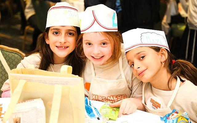 More than 1,100 children learned to make challah at Kids Mega Challah Bake in New York, January 12, 2016. (Benams Photo/Courtesy of Chabad via JTA)