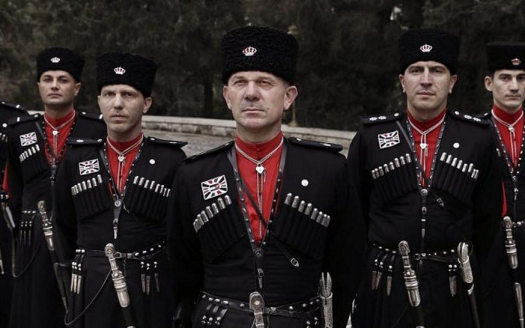 Circassian guards pose for a photograph outside Basman Palace, in Amman, Jordan, January 11, 2016 (AP Photo/Nariman El-Mofty)
