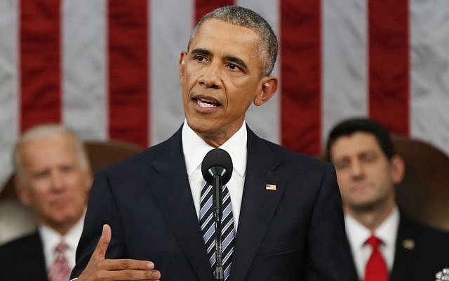 US President Barack Obama delivers his State of the Union address before a joint session of Congress on Capitol Hill in Washington, Tuesday, Jan. 12, 2016 (AP Photo/Evan Vucci, Pool)