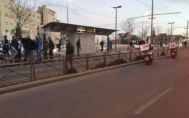 Scene of the attempted stabbing attack on Haim Bar Lev street in Jerusalem on January 4, 2016. (Yossi Koletzki/United Hatzalah)