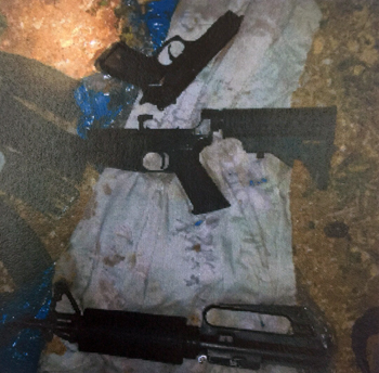 Weapons held by a Hamas cell near Hebron. The members of the cell, arrested in November, had planned a shooting attack near Hebron (Shin Bet)