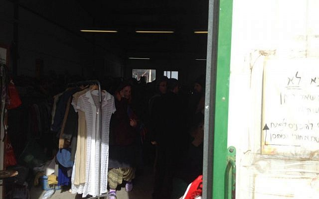 A clothing warehouse where a woman was stabbed in the settlement of Tekoa on Monday, January 18, 2016. (Joshua Davidovich/Times of Israel)