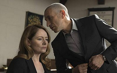 Miranda Otto and Mark Ivanir as their alter-'Homeland' egos in season 5 (Courtesy Showtime)