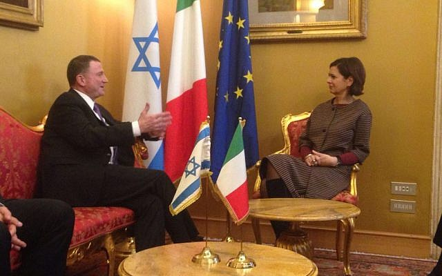 Knesset Speaker MK Yuli Edelstein meets with President of the Chamber of Deputies of Italy, Laura Boldrini, in Rome, January 2016. (Knesset spokesperson)