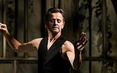 Premier dancer Mikhail Baryshnikov in his solo performance of 'Brodsky/Baryshnikov,' opening Tuesday night in Tel Aviv's Suzanne Dellal Center for Dance and Theater. (Courtesy Janis Deinats)