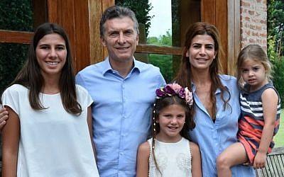 Newly elected Argentinian President Mauricio Macri visits family of assassinated prosecutor Alberto Nisma at his home on January 17, 2016. (Courtesy)