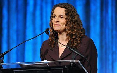 Rabbi Jennie Rosenn, HIAS Vice President for Community Engagement, speaks at Auburn Seminary's 2014 Lives of Commitment Awards Benefit Breakfast, where she was honored for her work. (Courtesy of Auburn Seminary)