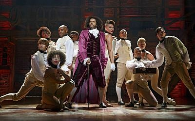 Daveed Diggs as Thomas Jefferson and the ensemble of Hamilton performing 'What'd I Miss.' (Hamilton Broadway Photos by Joan Marcus)