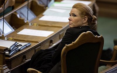 Denmark's Minister of Integration from the Liberal Party Inger Stoejberg sits in Parliament, in Copenhagen on Tuesday Jan. 26, 2016. (Peter Hove Olesen/ POLFOTO via AP)
