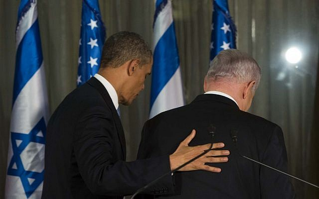 US President Barack Obama and Prime Minister Benjamin Netanyahu walk away after a news conference at the Prime Minister's residence in Jerusalem, March 20, 2013. (Yonatan Sindel/Flash90)