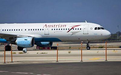 Illustrative photo of an an Austrian Airline plane. (Moshe Shai/FLASH90