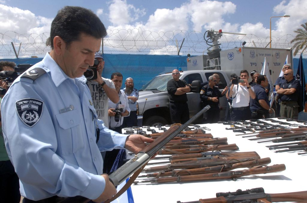"Illegal firearms seized by Israeli police in an operation entitled ""'Operation Law and Order"", seen on display at the Police Southern District. April 10, 2014. Photo by FLASH90"