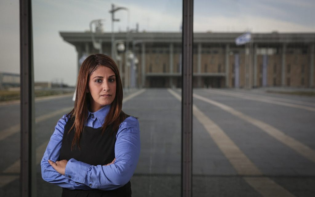 Illustrative: Portrait of Ruth Colian, head of the ultra-Orthodox female political party, UBizchutan: Haredi Women Making Change in front of the Knesset buildings in Jerusalem, on January 25, 2015. (Hadas Parush/Flash90)