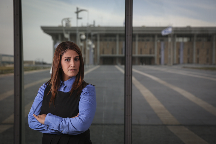 Portrait of Ruth Colian, head of the ultra-Orthodox female political party, UBizchutan: Haredi Women Making Change in front of the Knesset buildings in Jerusalem, on January 25, 2015. (Hadas Parush/Flash90)