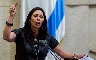 Minister of Culture and Sport Miri Regev in the Knesset on June 15, 2015 (Yonatan Sindel/Flash90)