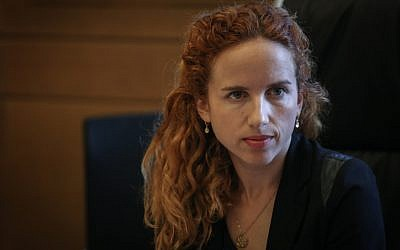 Chairwoman of the Knesset Transparency Committee Stav Shaffir in the Knesset on July 22, 2015. (Hadas Parush/Flash90)