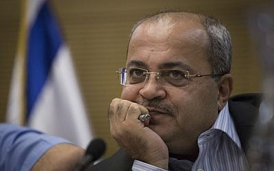 Joint List MK Ahmad Tibi attends a Knesset committee meeting, October 26, 2015. (Hadas Parush/Flash90)