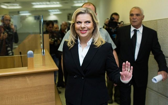 Sara Netanyahu, wife of Prime Minister Benjamin Netanyahu, at the Jerusalem Labor Court on October 29, 2015. (Yonatan Sindel/Flash90)